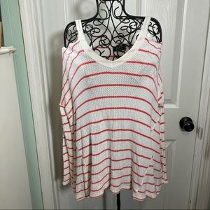 Luxe Thermal Cold Shoulder White Red Sz L
